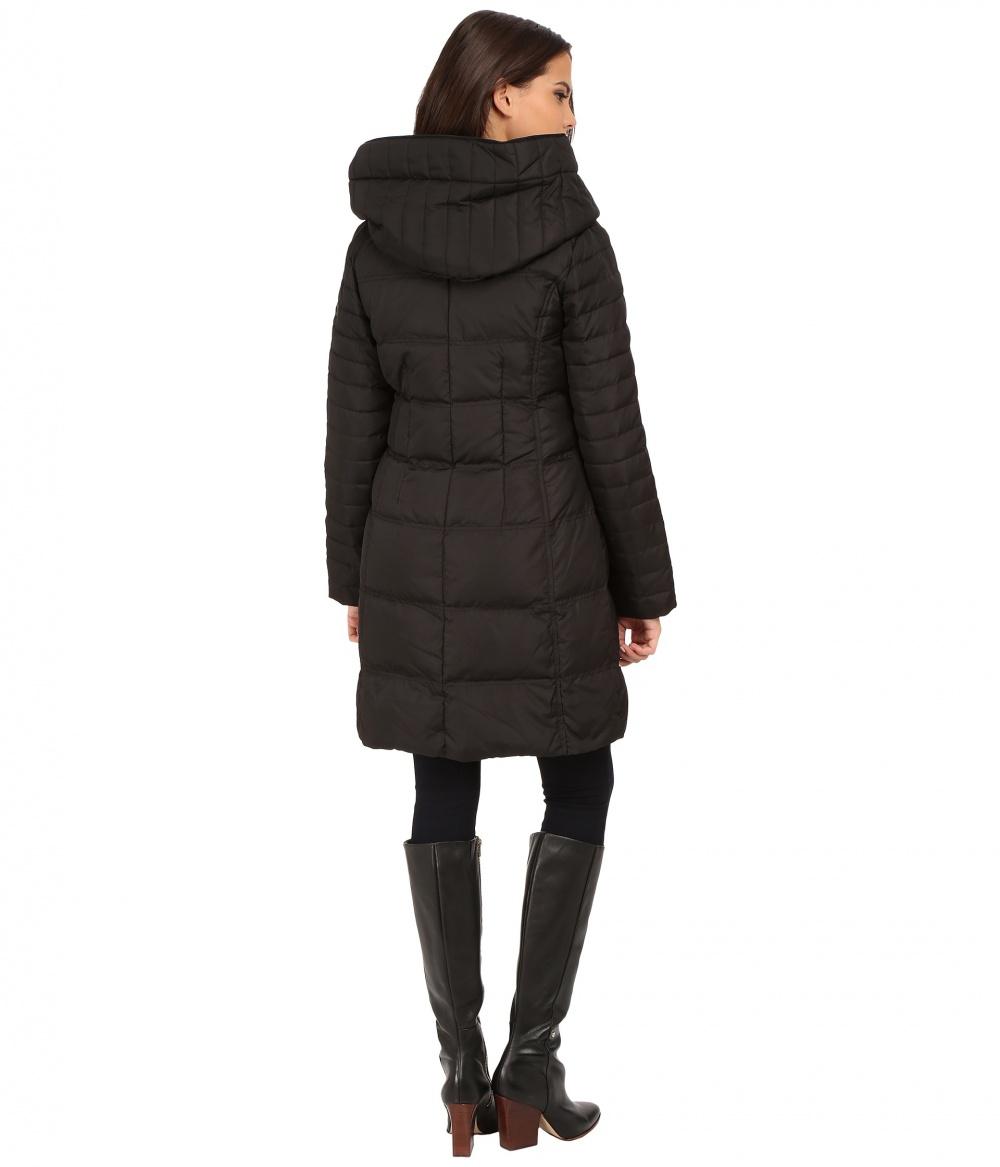 Новое чёрное пальто-пуховик с капюшоном DKNY, размер L на росс.50-52