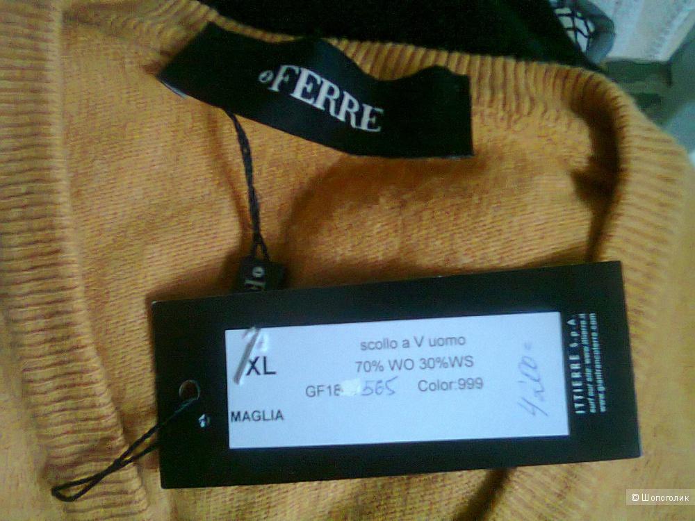 Свитер джемпер пуловер мужской FERRE оранж ХL (56)  Италия новый