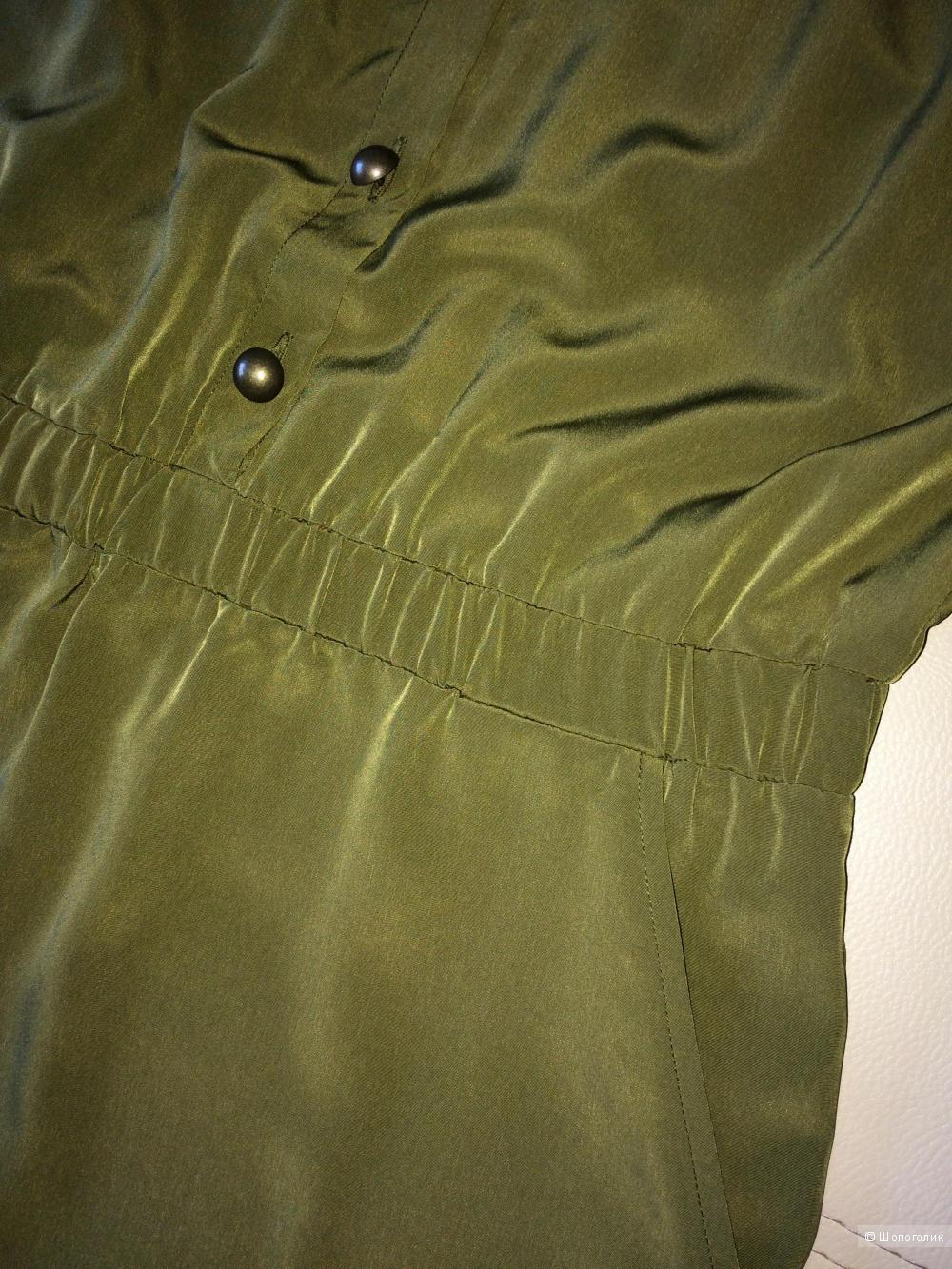 Платье хаки с металлическими пуговицами Sheego 48-50 размер