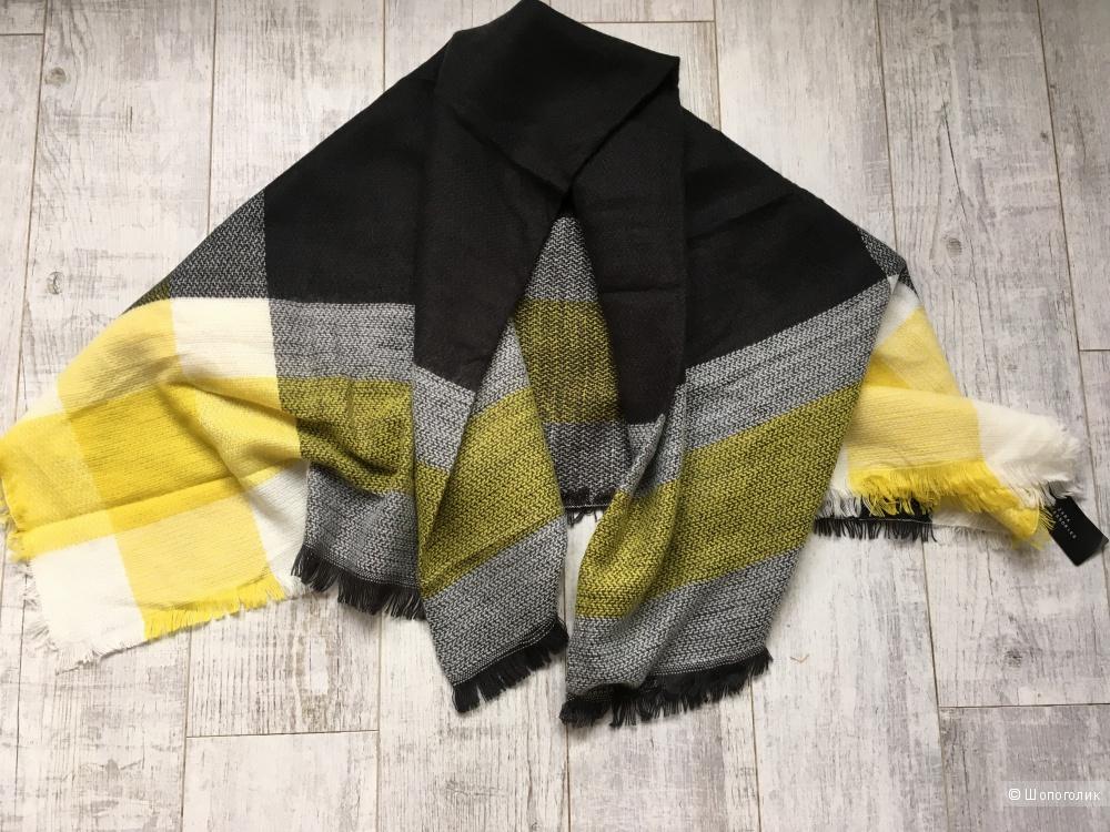 Шарф-платок клетчатый Zara, шерсть и хлопок, размер 130х130