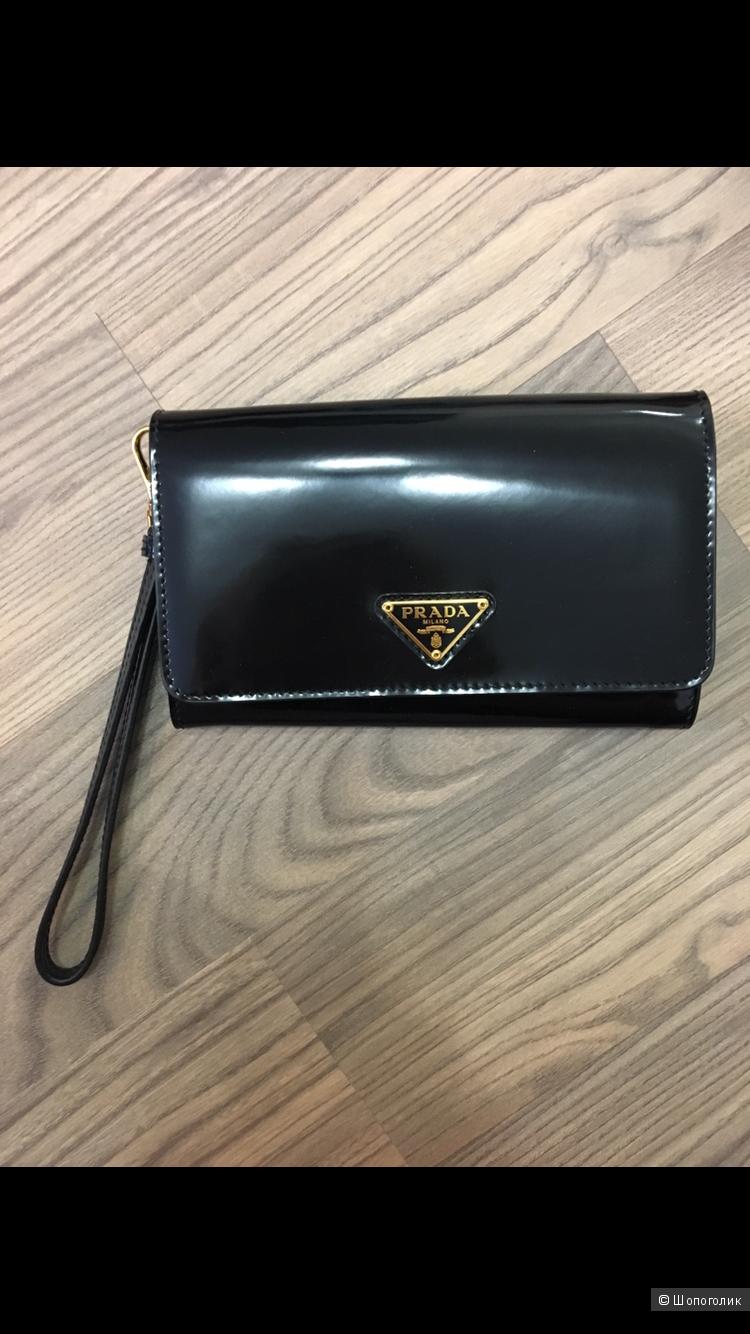 Лаковый кошелёк Prada чёрный оригинал