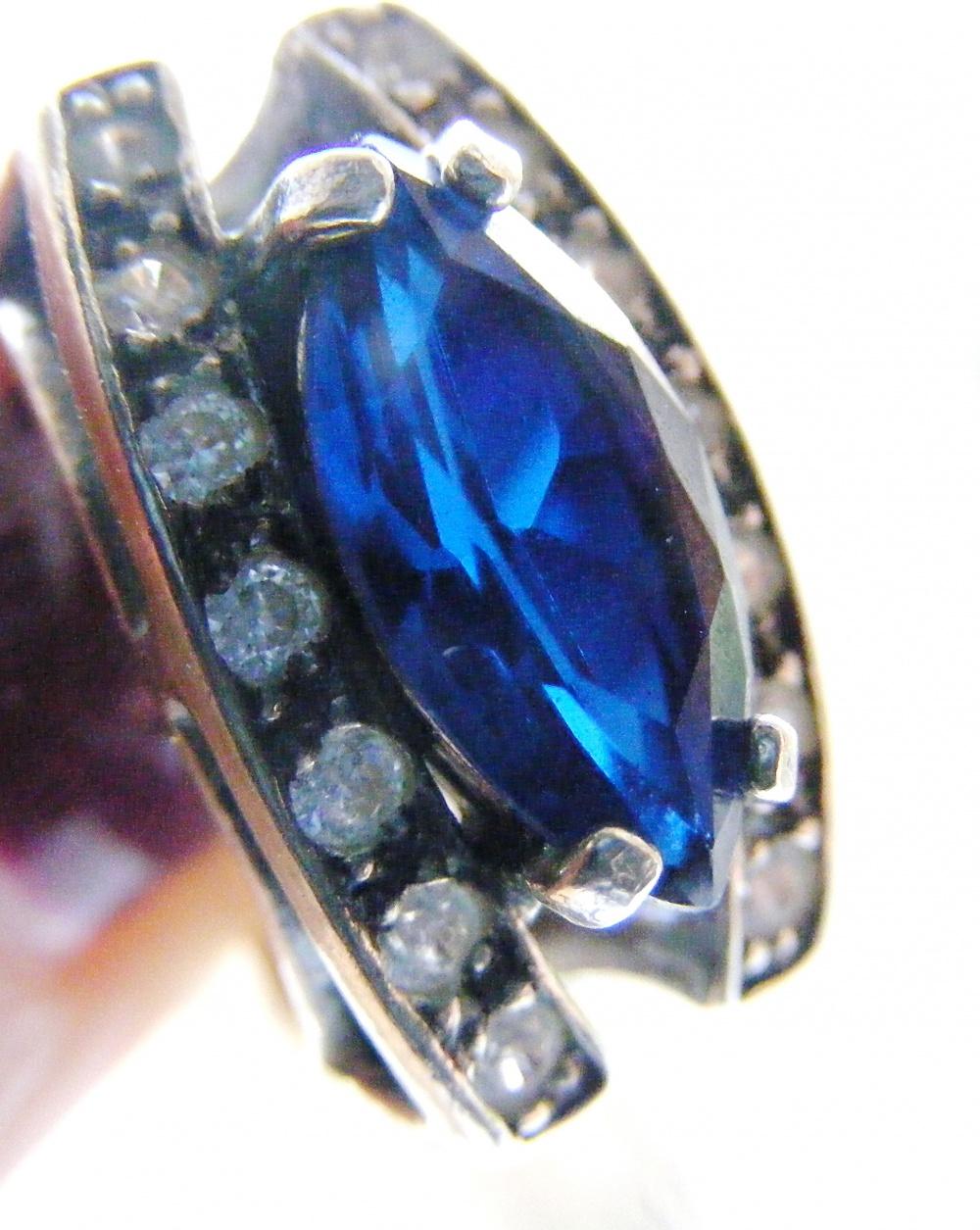 Комплект серьги и кольцо серебро 925 пробы сапфир фианиты новый
