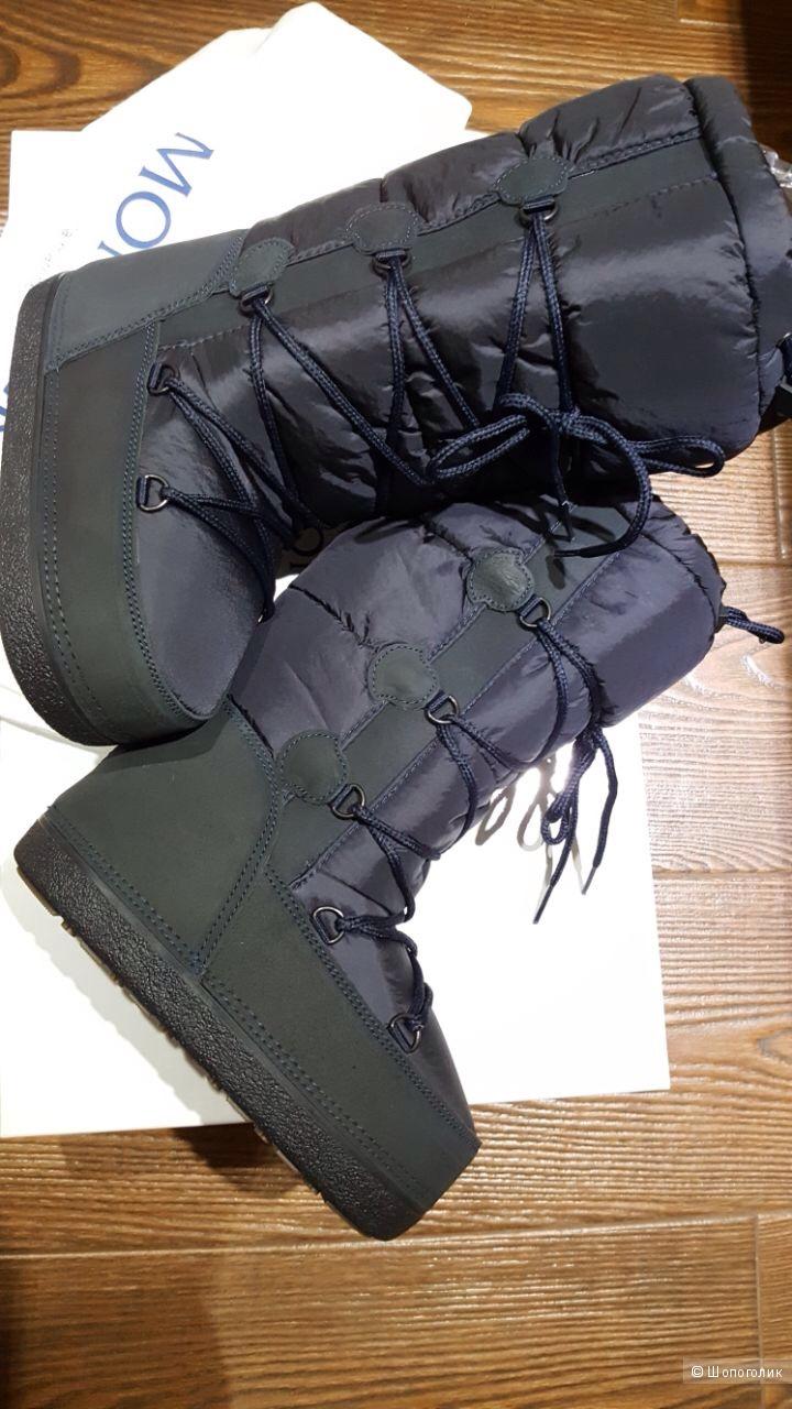 MONCLER зимние сапоги на шнуровке-луноходы -сноубутсы для девочки р.32-33-34 .Новые