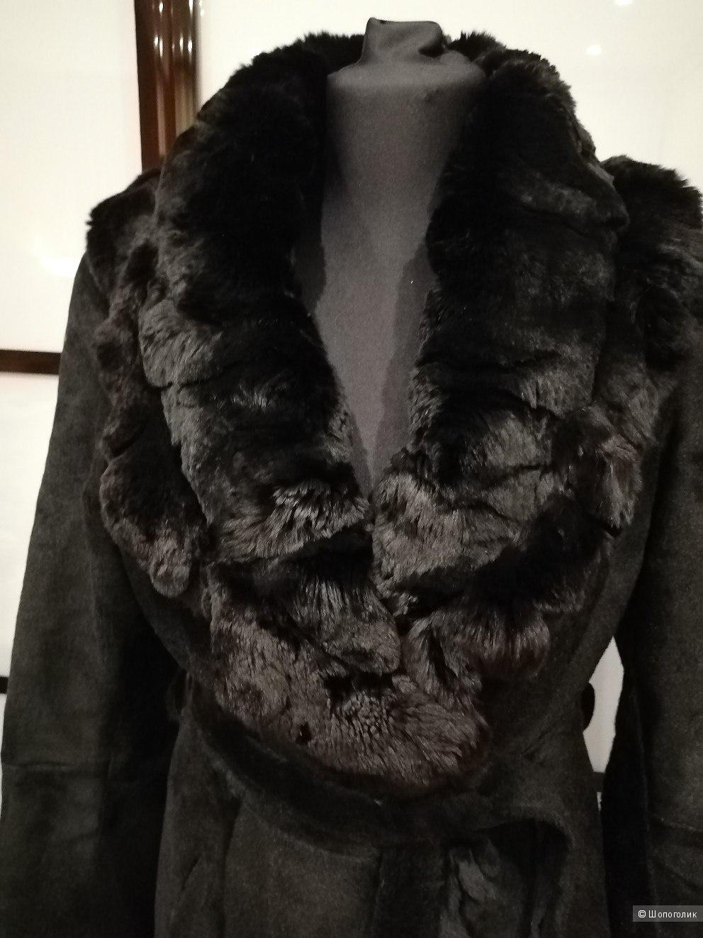 Меховое пальто овчина с воротником из кролика размер 36 42-44