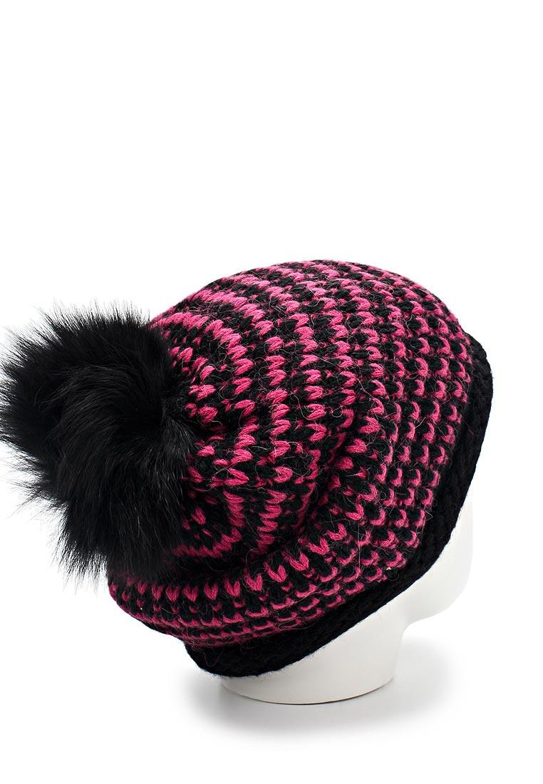 Новая теплая черно-розовая шапка от Fabretti (one size)