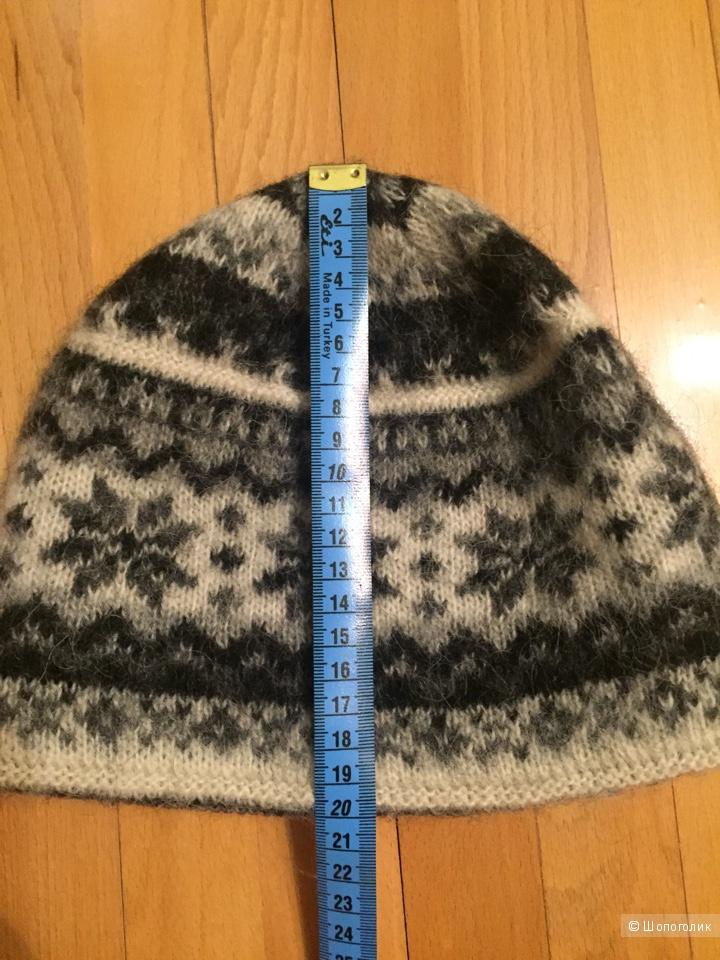 Комплект: шапка, шарф, фирма Фрея, 100% шерсть, безразмерный