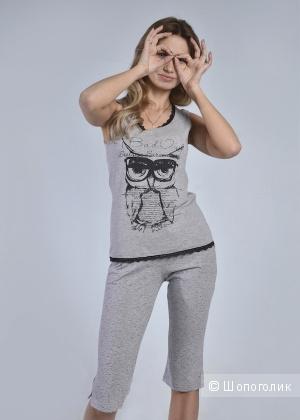 Пижама с бриджами «Сова», размер 44, цвет меланж