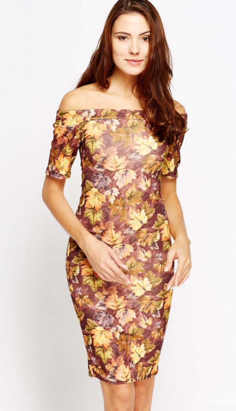 Красивое платье с открытыми плечами р.14UK (на 46-48)