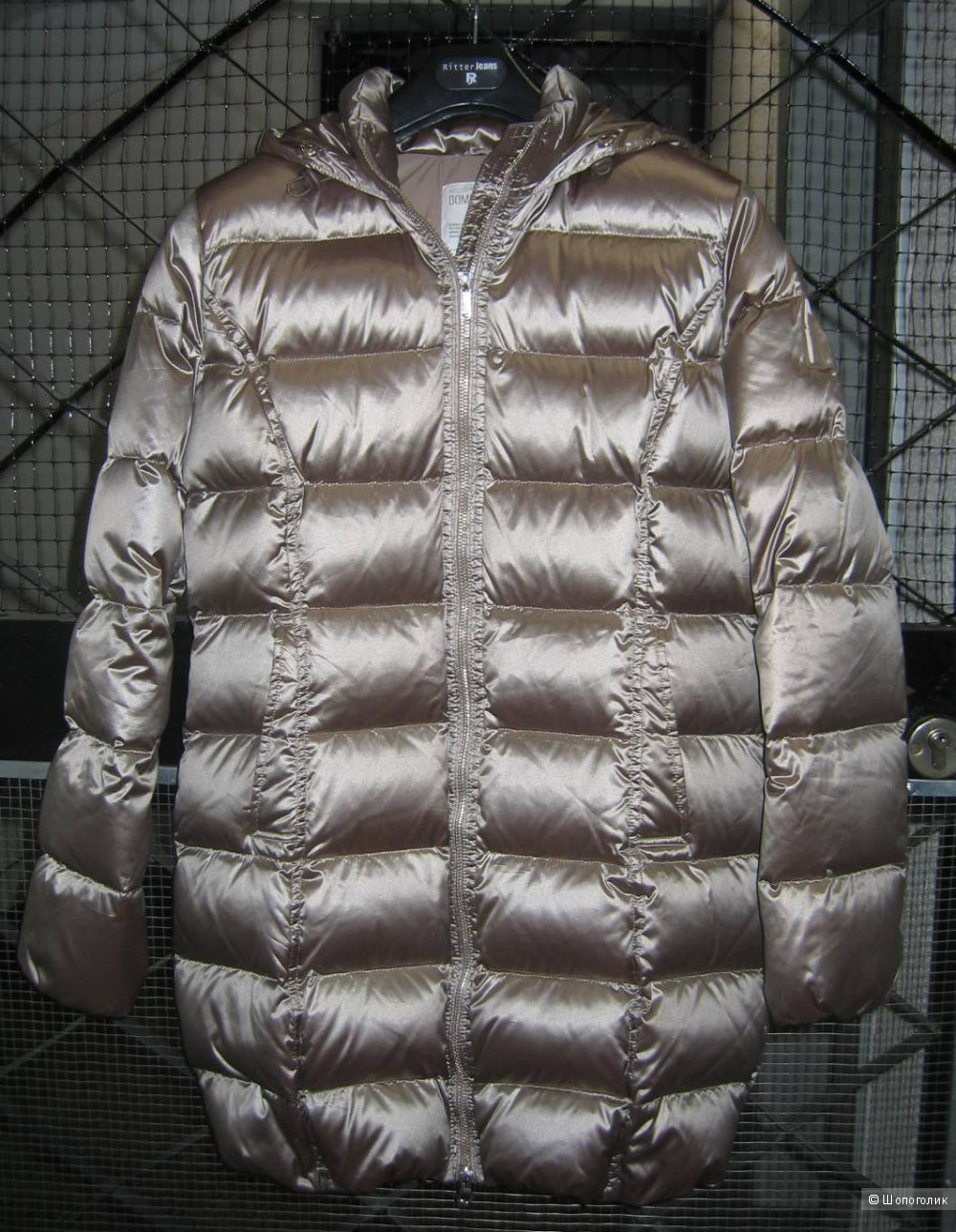 Куртка-пуховик BOMBOOGIE золотисто-бежевого цвета с капюшоном, размер 46-48