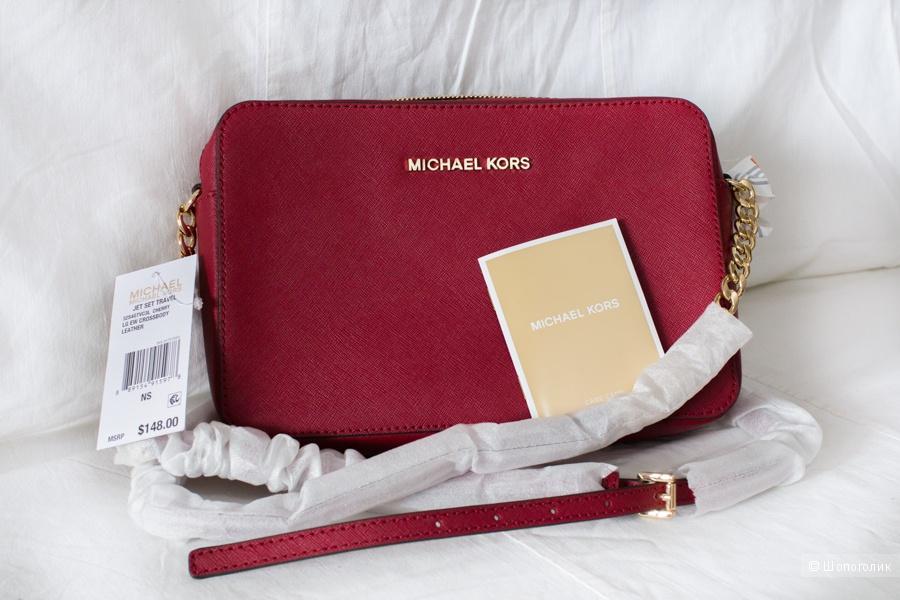 Сумка Michael Michael Kors jet set travel цвет вишня cherry