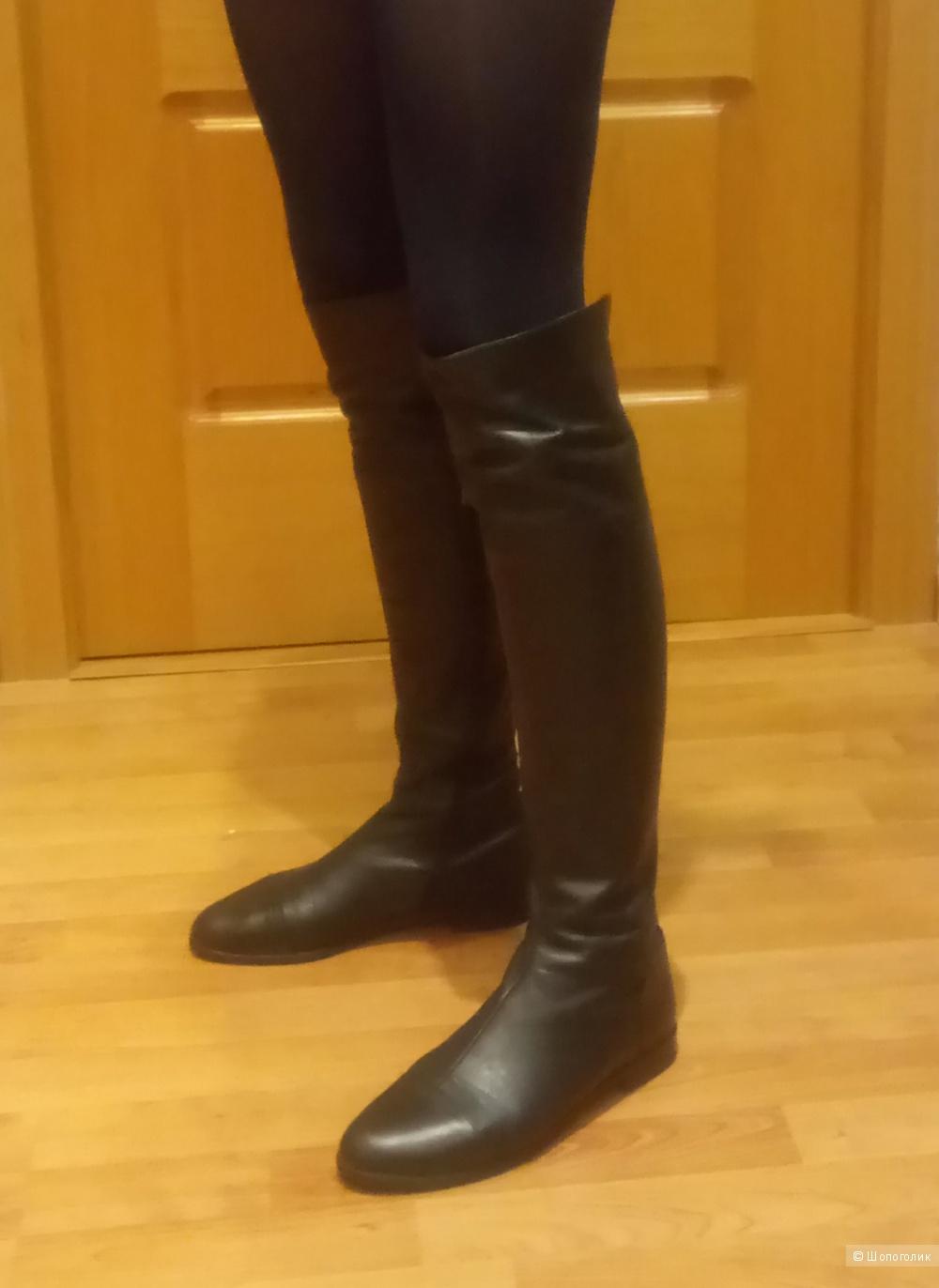 Кожаные сапоги, размер 38