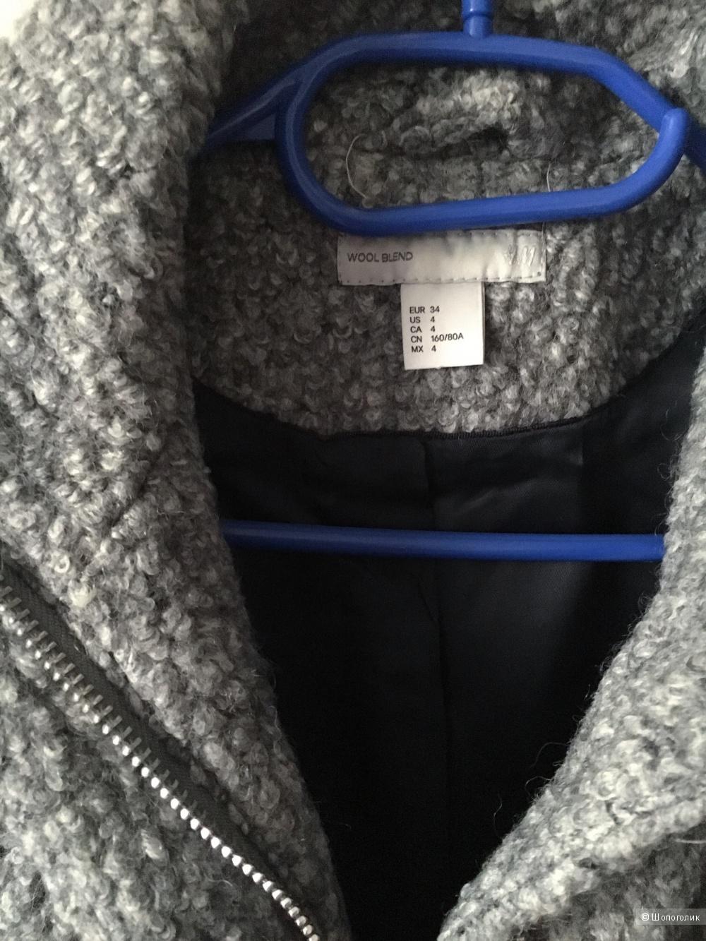 Шерстяное пальто H&M, 34 размер (XS)