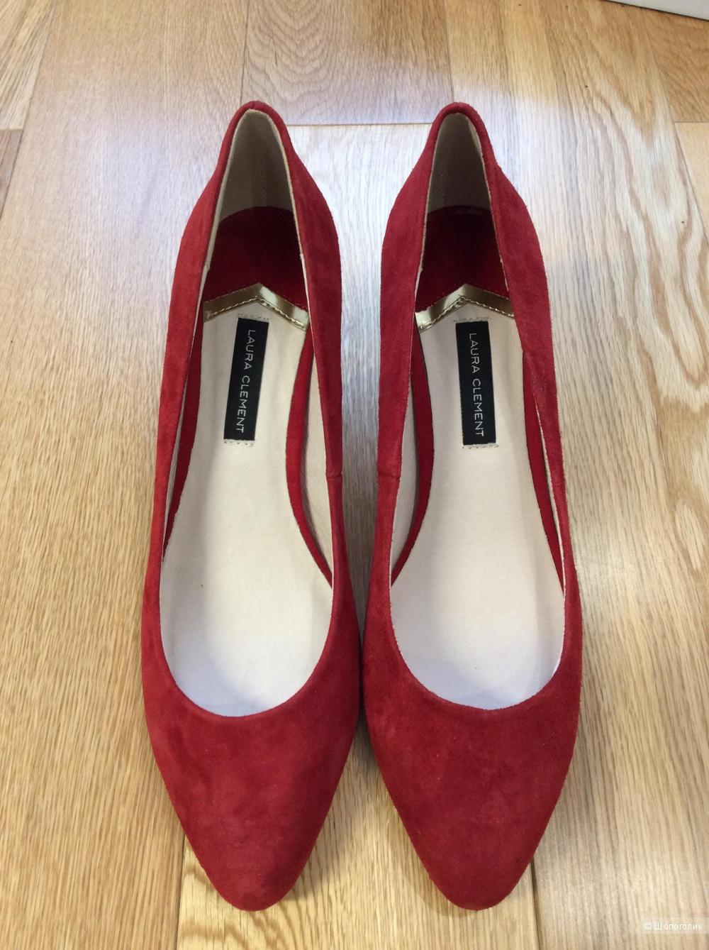 Красные туфли из замши Laura Clement р.40 (на ногу 26-26,5 см)