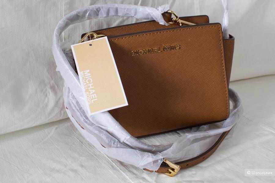 Сумка новая Michael Kors Selma mini цвет Багаж/коричневый Оригинал