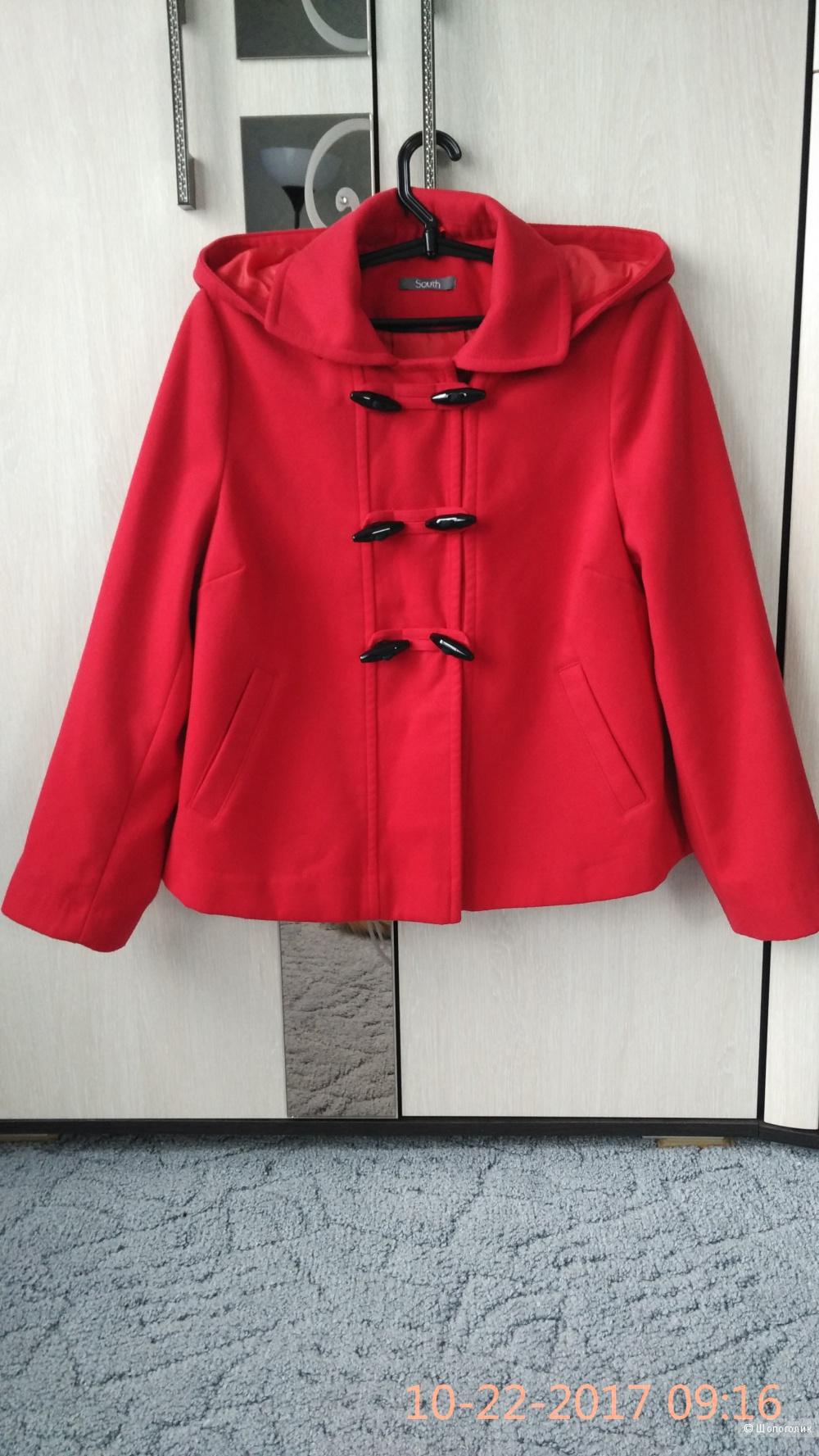 Пальто красное, размер 50-52