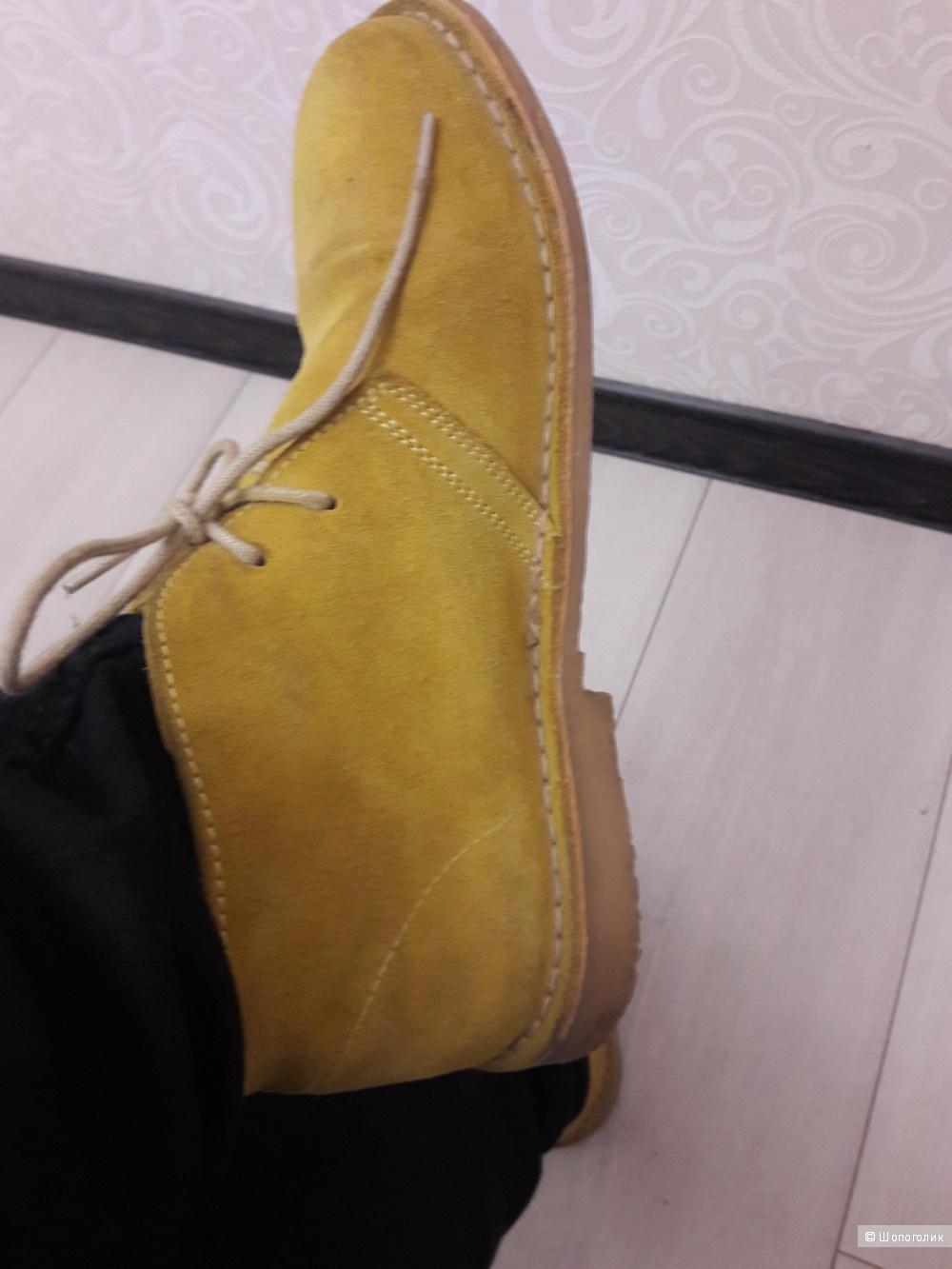 Женские горчичные ботинки-дезерты: замша, 39