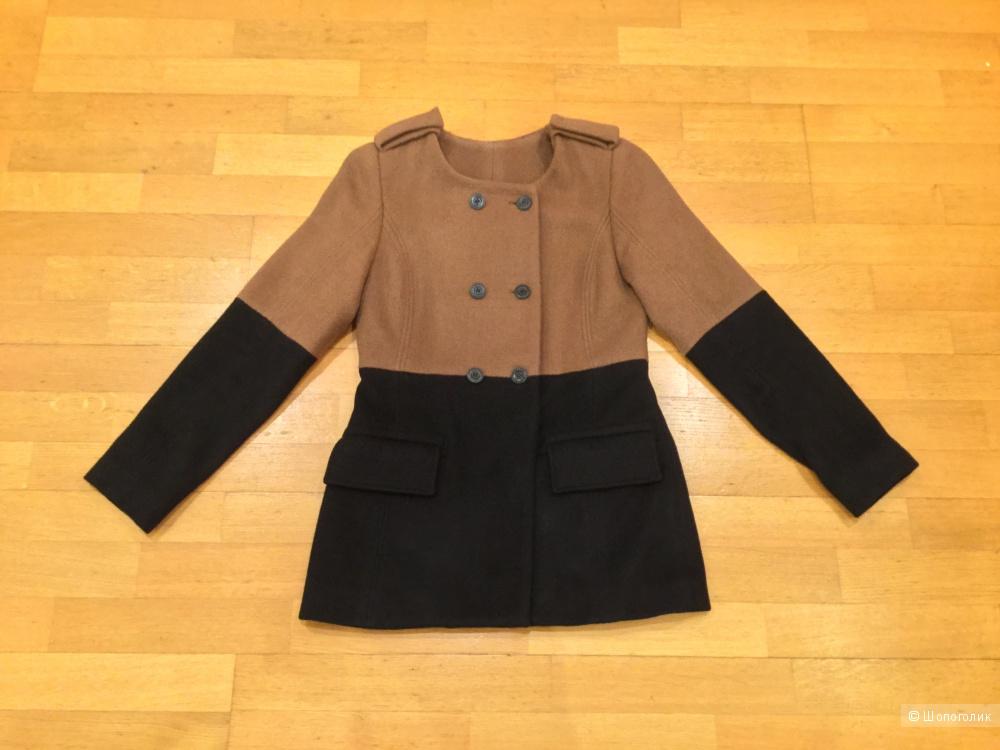Двухцветное полушерстяное пальто с сайта закрытых распродаж на 44-й р.