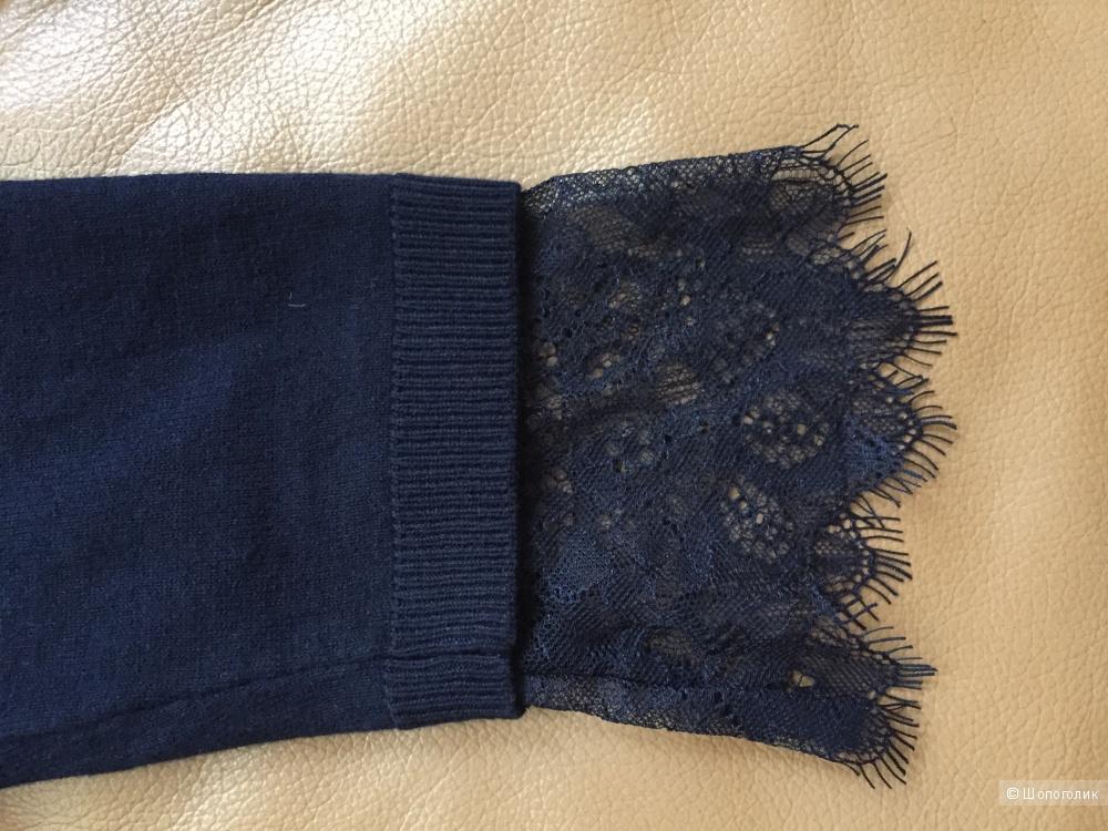 Кардиган темно-синий с кружевной отделкой Intimissimi размер S