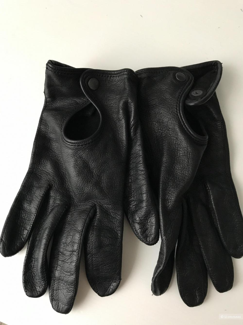 Черные перчатки из натуральной кожи no name размер 7