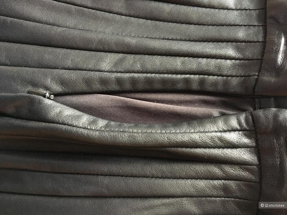 Черная кожаная юбка THEORY р. US10
