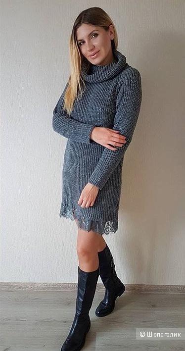 Итальянское вязаное платье с кружевом, one size, акрил