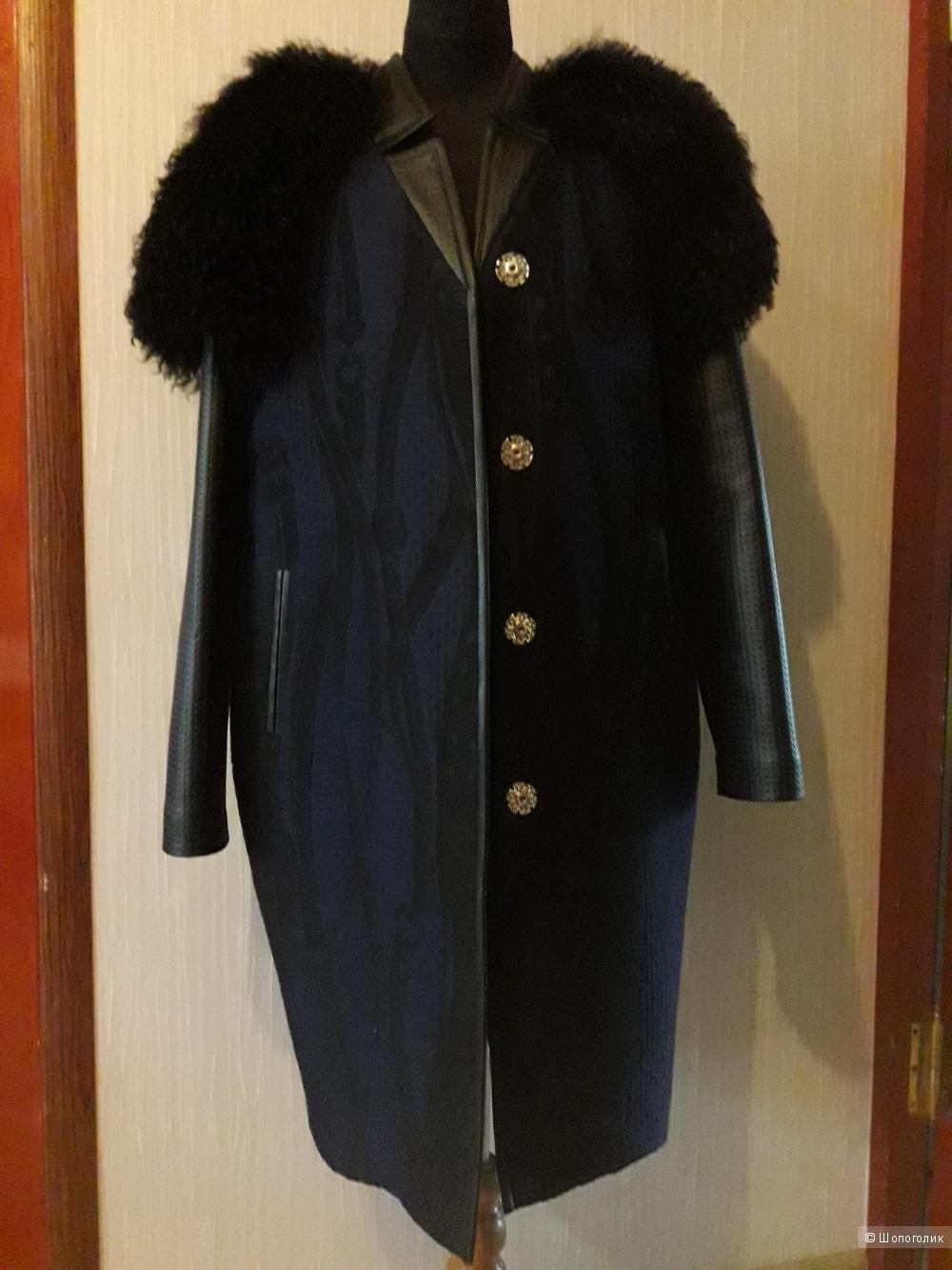 Пальто -жилет утеплённое с  мехом ламы, р 42-44