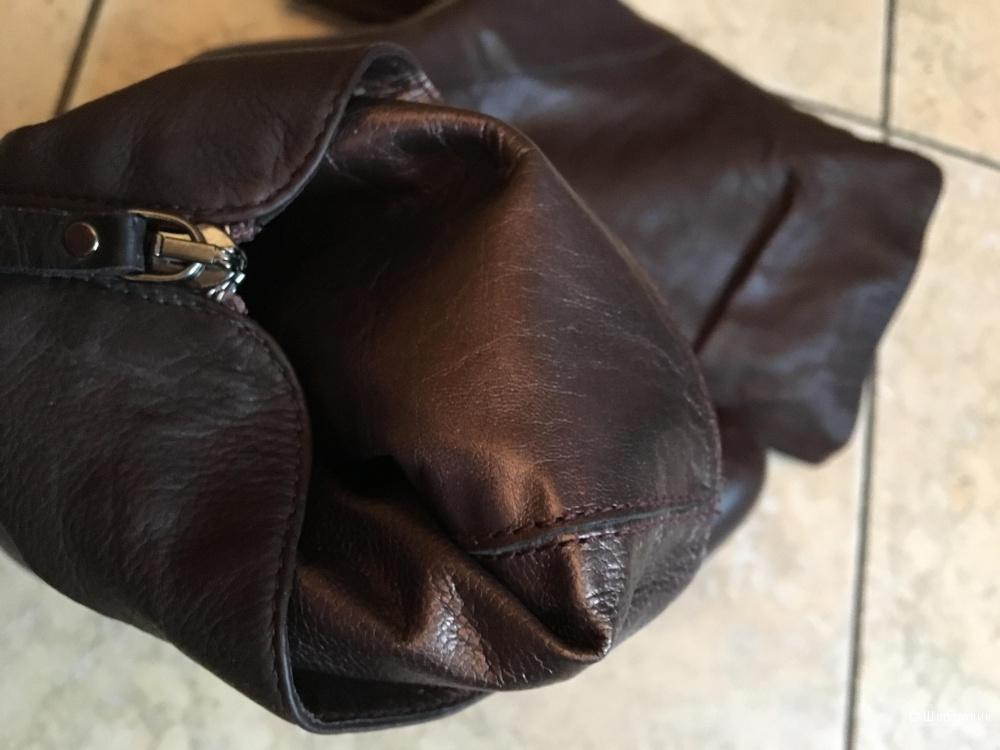 Коричневые кожаные полусапожки на каблуке Vic р.36