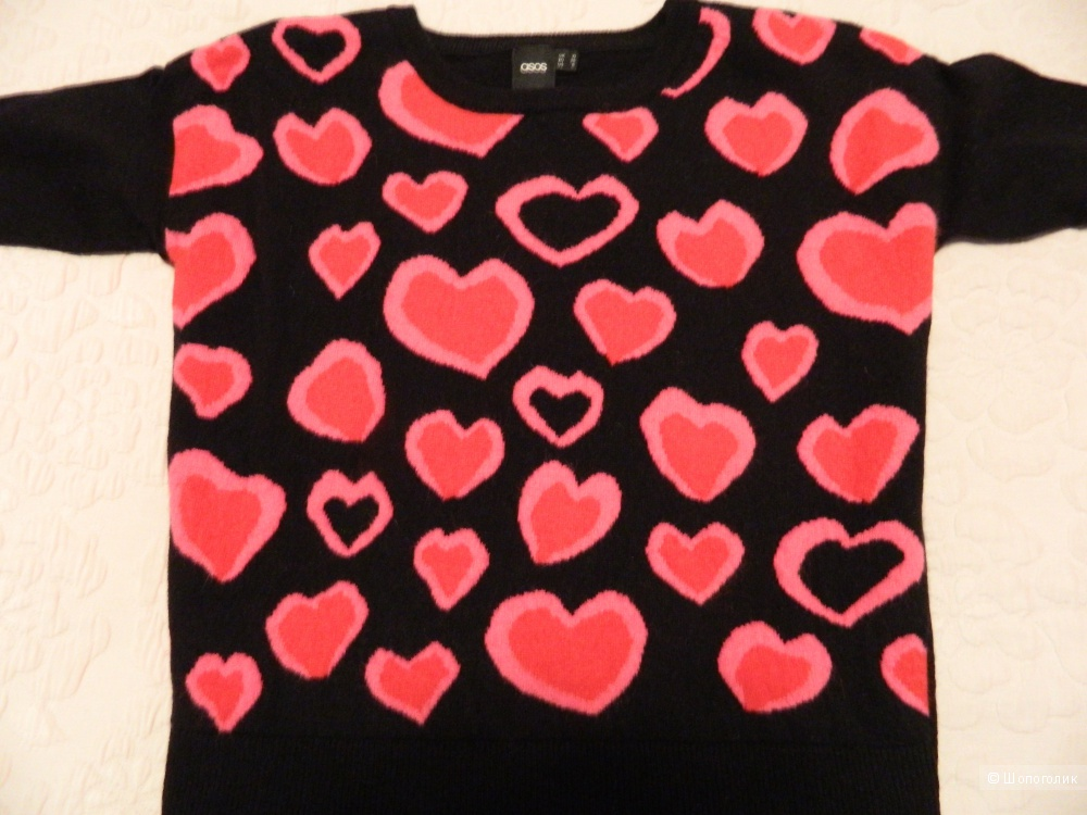 ASOS Jumper With Falling Hearts, 10 UK (36 EU)