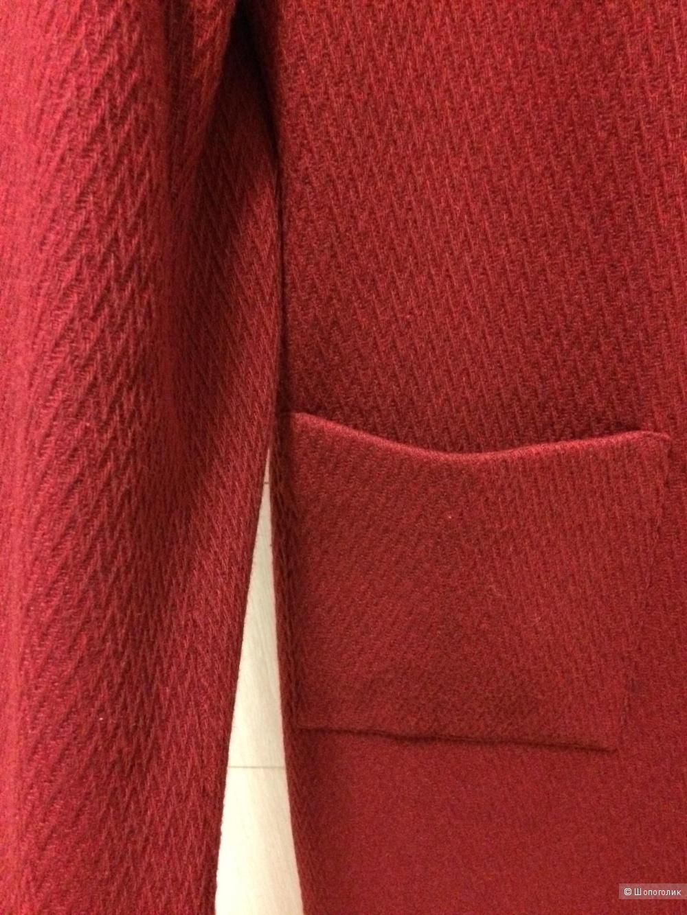 Пальто бордовое Heine 30% шерсти 48-50 размер