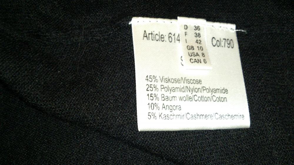 Кофта = водолазка черная с коротким рукавом MORE & MORE, размер 36 (нем) = 40-42 (рос), Германия