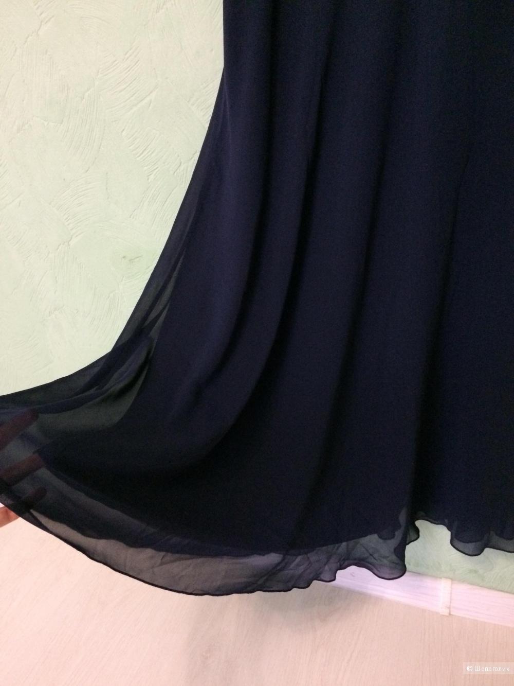 Платье вечернее торжественное тёмно-синее шифон Ashley Brooke 48-50 размер