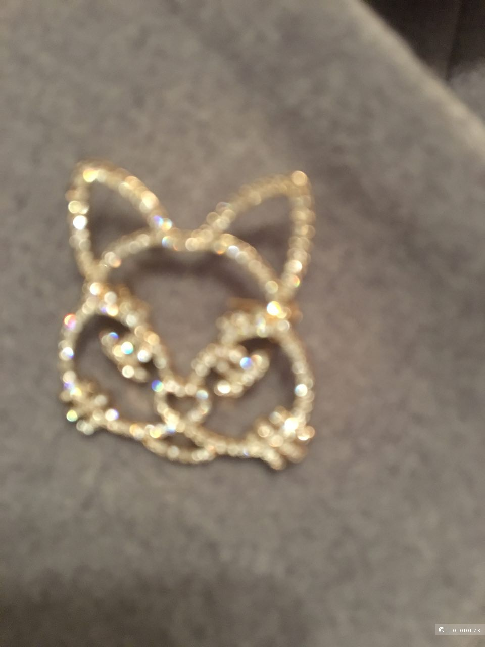 Брошь Chanel crystal cat, реплика