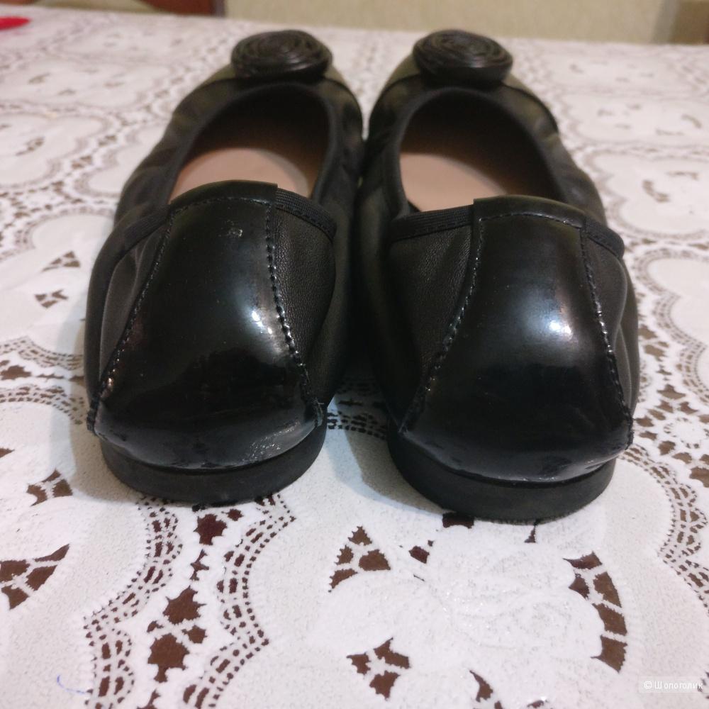 Балетки женские черные кожаные TJ Collection 38 р-р