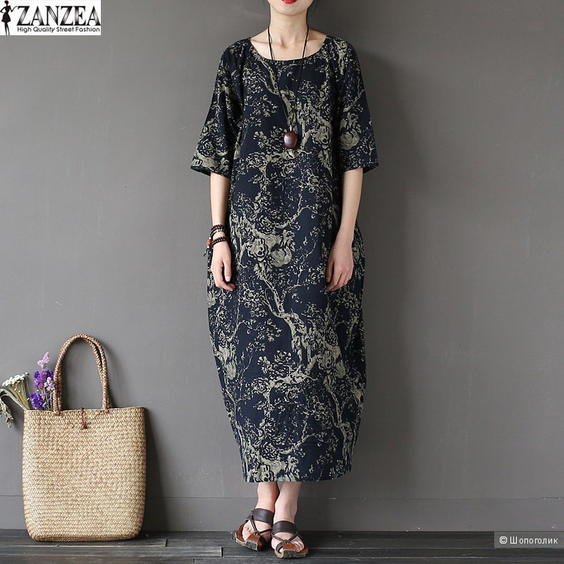 Платье хлопковое ZANZEA, размер 46-48.