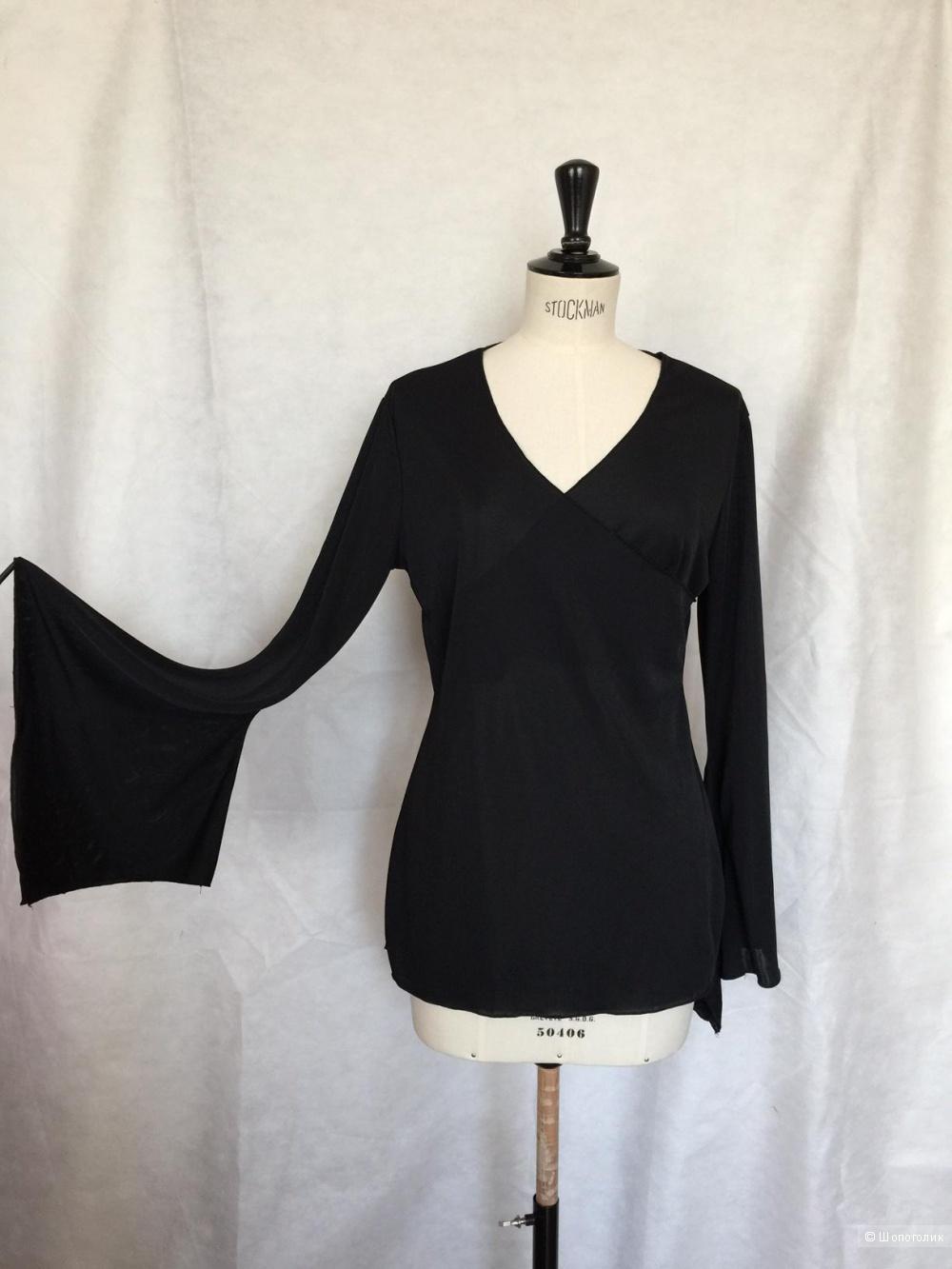Оригинальная черная блузка марки  4/5/6 Fascion consept размер 46-48