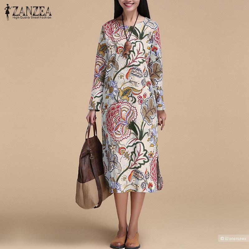 Платье хлопковое ZANZEA, размер 46-48