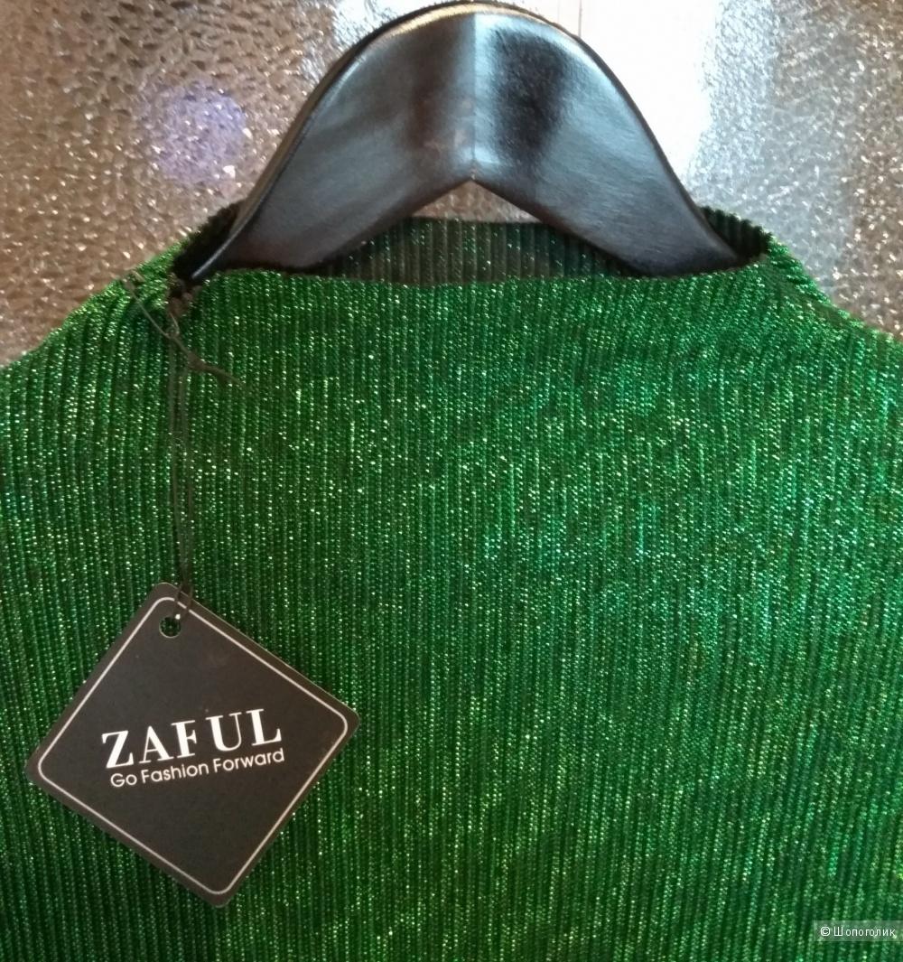 Новая водолазка, гольф с гофрированной структурой и люрексом, 42-44-46, Zaful