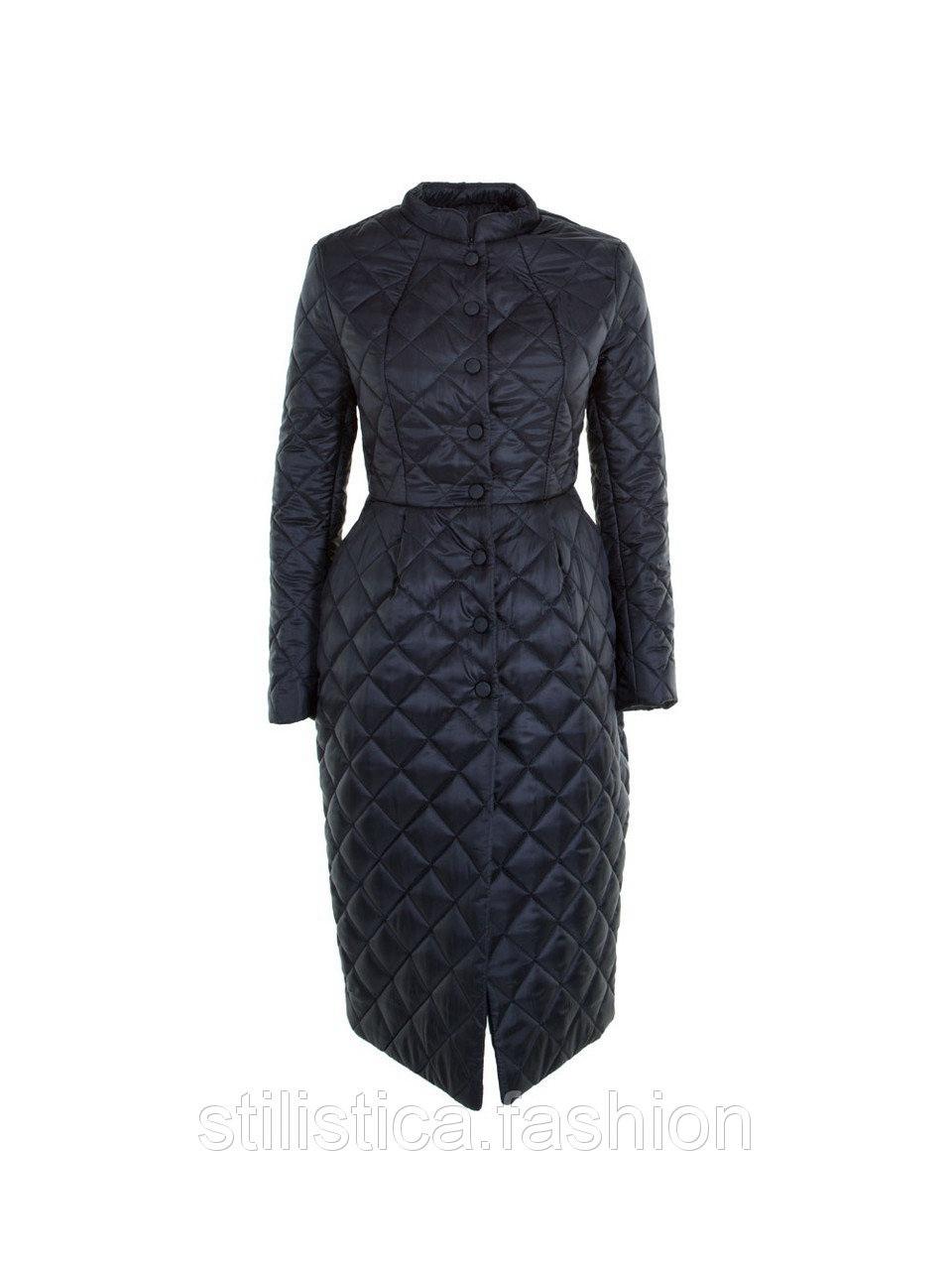 Длинное-экстравагантное стеганное пальто бежевого цвета IMPERIAL Италия в размере XS.