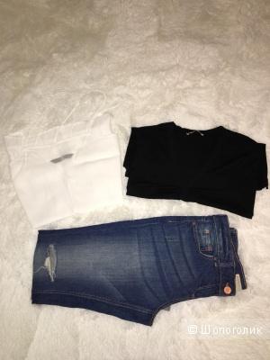 Комплект джинсы/Papaya + топ/Zara + футболка Stefanel, размер S