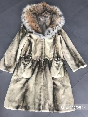 Норковая шуба-пальто, размер 42-44.