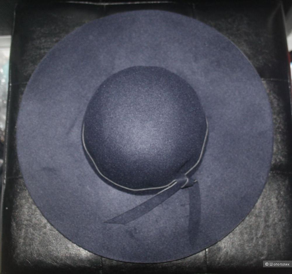 Синяя шляпа из шерсти. р.57-58