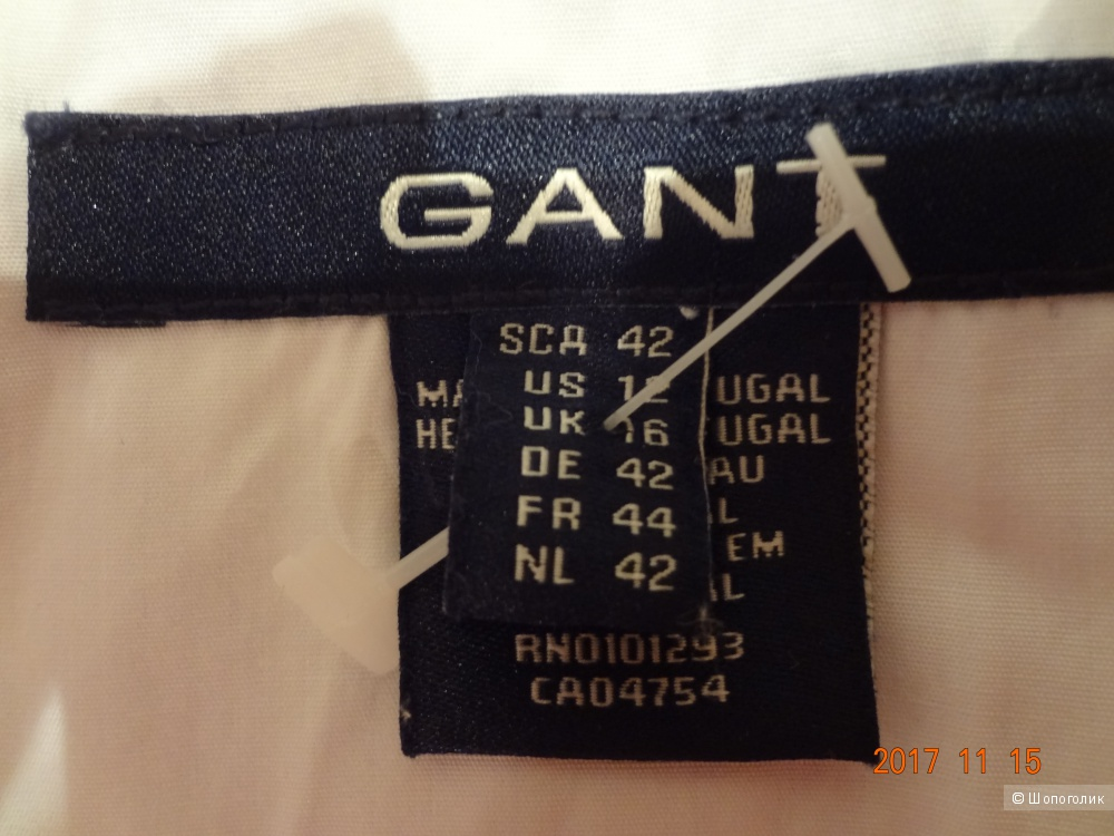 Белая рубашка GANT, новая, UK16, рос 46-48