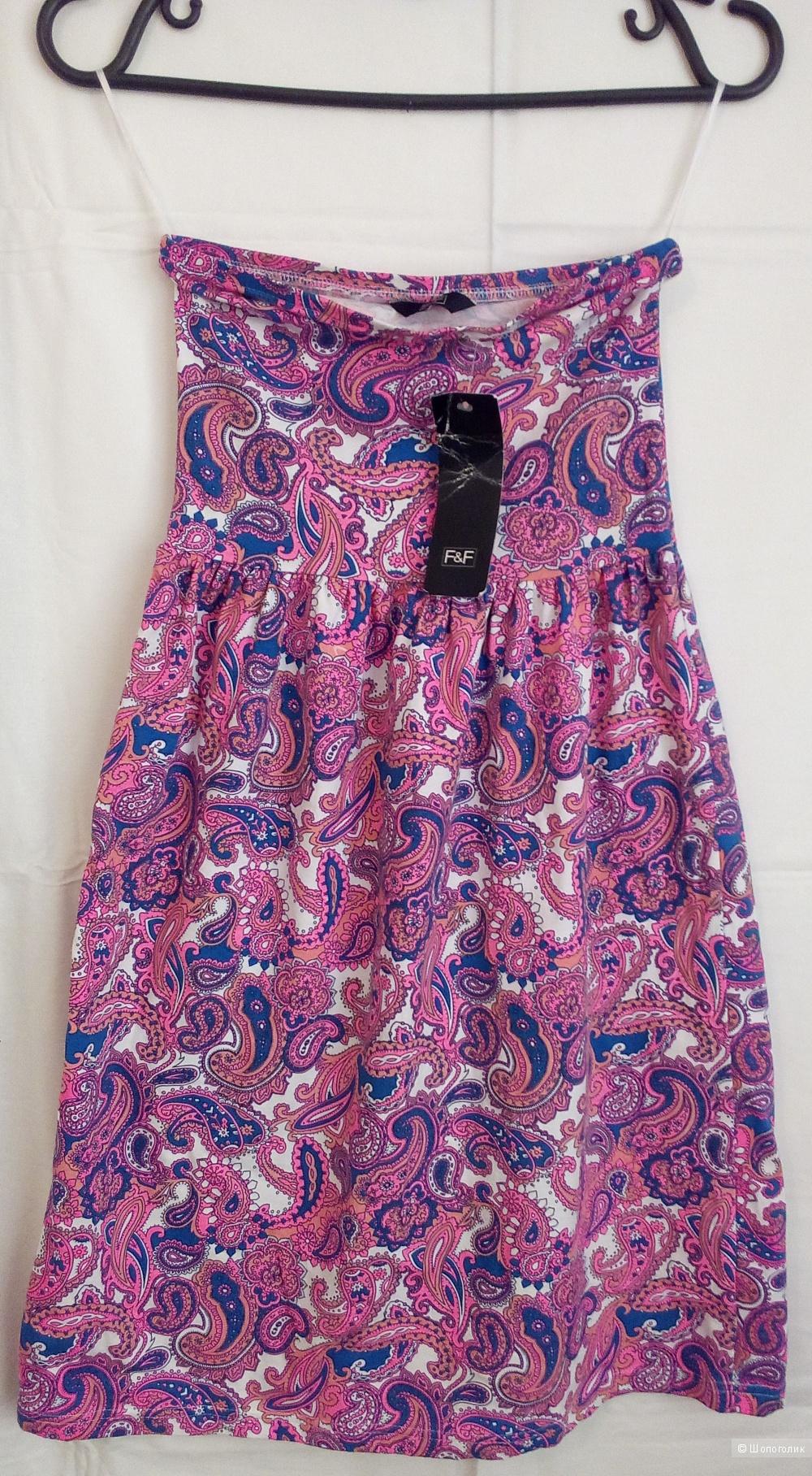 """Летнее платье без бретелек  модный бренд """"F&F"""", размер 38"""