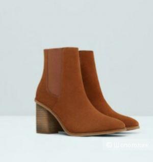 Ботинки Манго замшевые кирпичные 40-41 размер