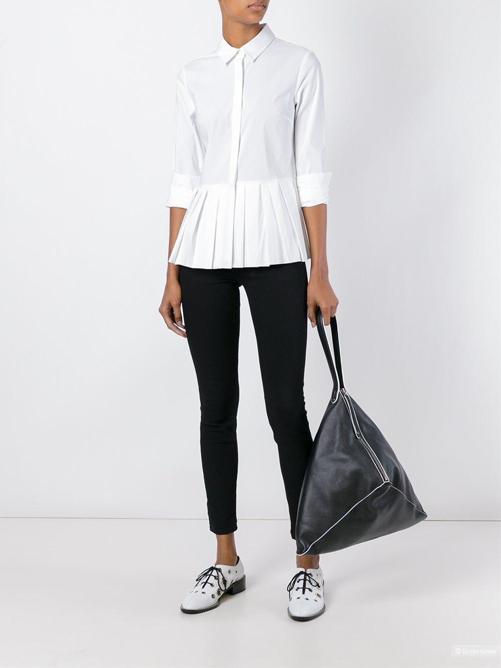 Белая рубашка с баской NafNaf размер 40eu, 44-46 ру