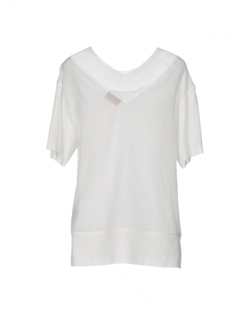 Шелковая блузка MISSONI, 48 (Российский размер) дизайнер:46 (IT). Белая