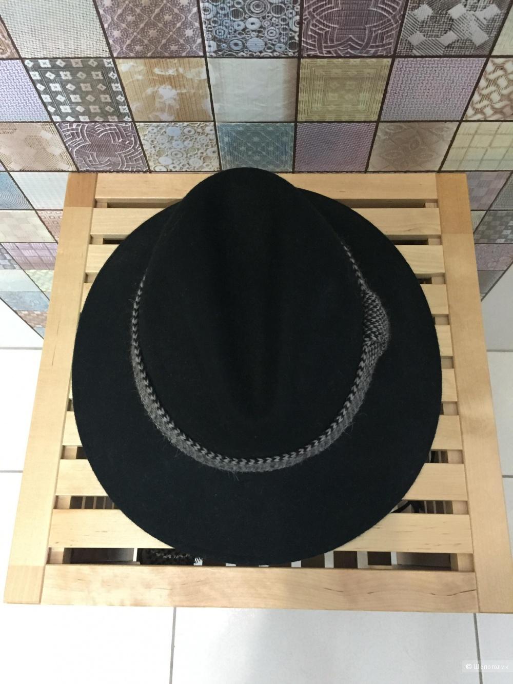 Шляпа Catarzi с широкими полями и твидовой лентой,58 см