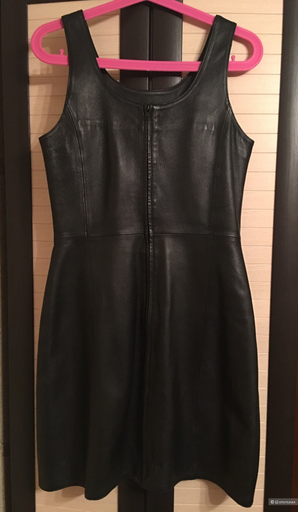 Кожаное платье-сарафан  S