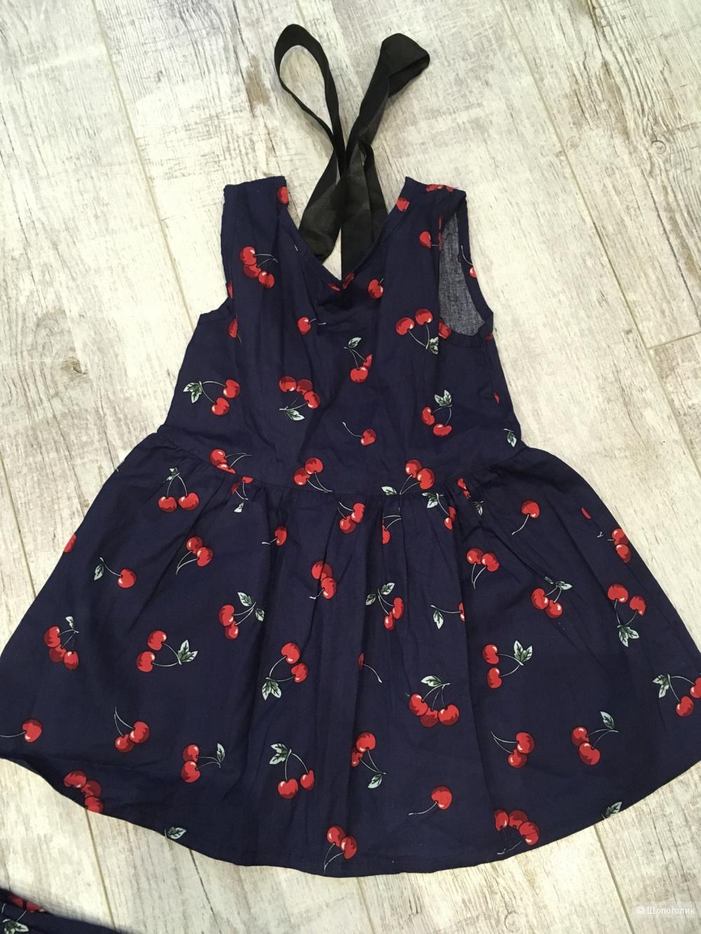 Комплект платьев мама и дочка (family look),  42-44, детский 90