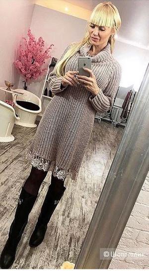 Платье с кружевом, Италия, oversize